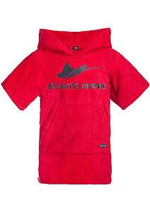 Atlantic-Shore-Surf-Poncho-Bademantel-Umziehhilfe-fuer-Kinder-Kids-Red