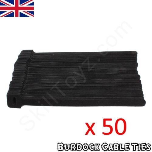 CHOOSE QUANTITY Cable Ties Medium Hook and Loop Reusable Wraps Black 225x12mm