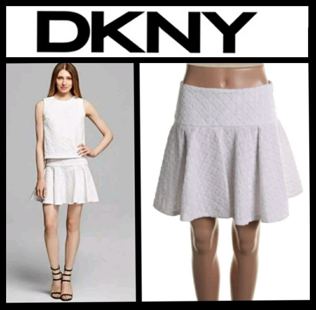 DKNY White Embroidered Circle Pleated Flounce Hem Flare Skirt   8   M3020