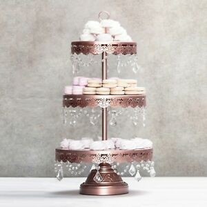 Image Is Loading 3 Tier Cupcake Stand Metal Crystal Dessert Wedding