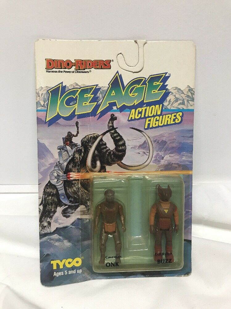VINTAGE 1990 TOY DINO-RIDERS ICE AGE ONK & BUZZ  BY TYCO (NEW SEALED)
