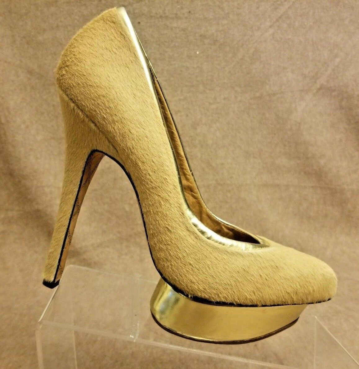 L.A.M.B Damens Tan Nude Platform Pumps Calf Hair Stiletto High Heels Größe 10 M