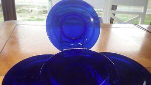 "Cobalt Blue Salad Plates 8"" diameter VGUC 4 8"" diameter"
