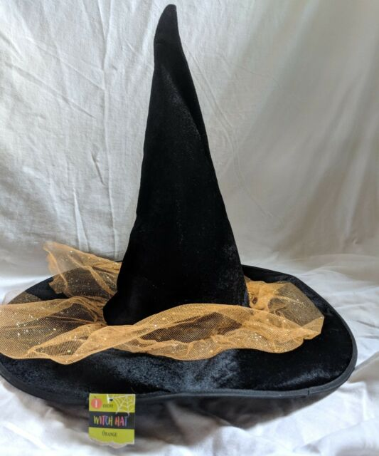 New Black With Sparkle Orange Tulle Witch Hat One Size Halloween Costume
