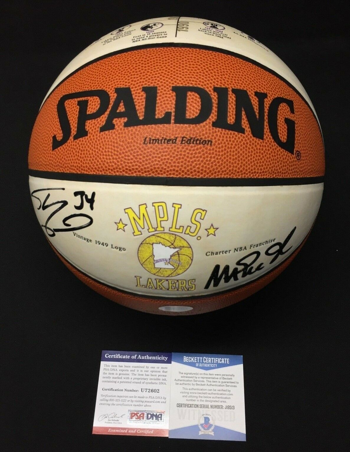 Magic Johnson Shaquille O'Neal Shaq Signed LE MPLS Lakers Basketball PSA/BAS