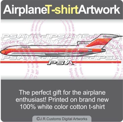 T-shirt for Vintage PSA Pacific Southwest Airlines Boeing 727 Airplane Fans