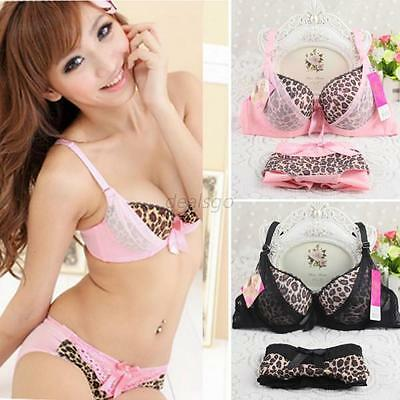 New Sexy Women Push Up Bras Underwire Bowknot Leopard Bra Set + Panties 32-36 B