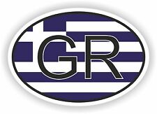OVAL FLAG WITH GR GREECE COUNTRY CODE STICKER CAR MOTOCYCLE AUTO TRUCK