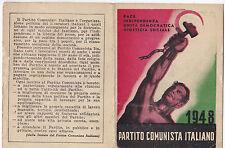 TESSERA P.C.I. 1948 BOLLATA FEDERAZIONE DI SAVONA  1-201
