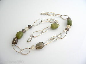 Silpada-Silver-Green-Brown-Clear-Quartz-Hammered-Necklace-Link-Chain-Retired