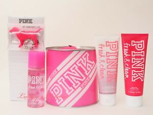 Pink-by-VS-Victoria-039-s-Secret-Cool-Beauty-Gift-Set-Mist-Lotion-Drive-Notepad-Wash