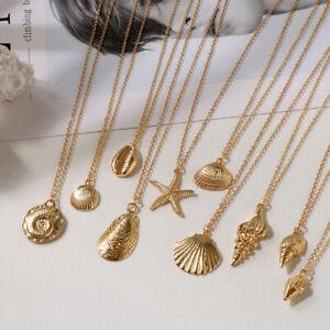 Starfish-Alloy-cowrie-concha-Collar-con-colgante-de-concha-Cadena-color-dorado