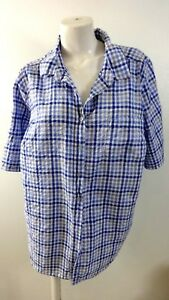 WOMAN-WITHIN-WOMENS-WHITE-amp-BLUE-CHECKED-ROLL-TAB-SLEEVE-BLOUSE-SIZE-1X
