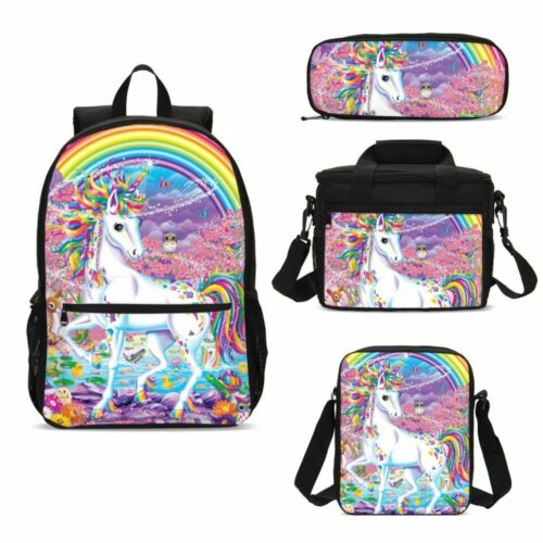S//4 Unicorn Kids Girls Schoolbag Large Backpack Insulated Lunch Pen Bag LOT Gift