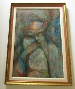 LARGE-PANTING-EXPRESSIONISM-MODERNISM-MYSTERY-ARTIST-PORTRAIT-WOMAN-VINTAGE