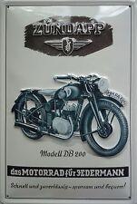 Zündapp DB 200 Blechschild 20x30cm Reklame Werbung Motorrad Motor Cycle Sign
