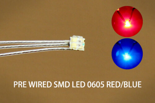 DT0605RB 20pcs Presoldered litz wired leads Bicolor REDBLUE SMD Led 0605 DUAL