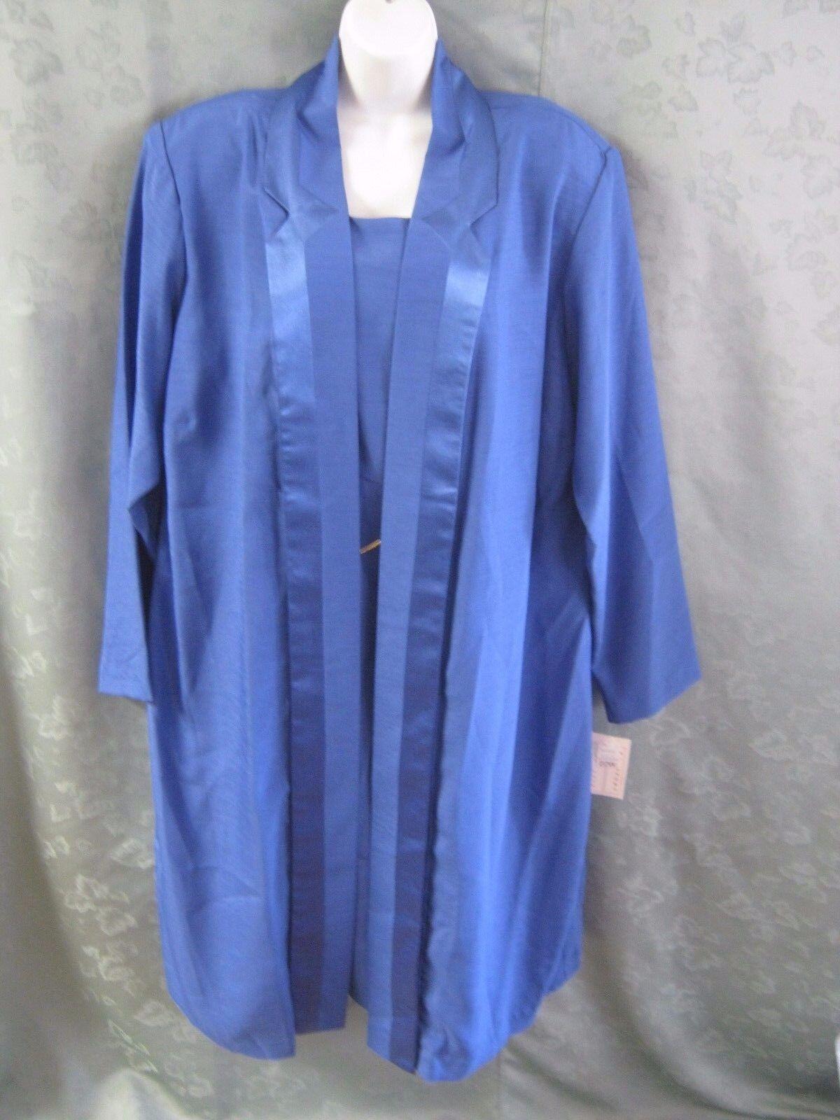 P I New York Sleeveless Dress & Long Open Front Blazer Set Plus Größe 22W NWT