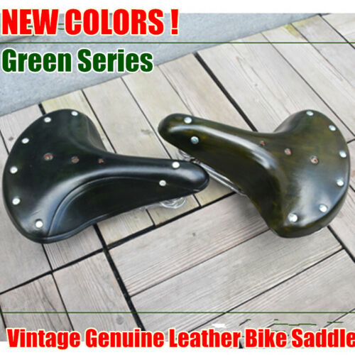 New Green Genuine Leather Vintage Classic Bicycle Retro Bike Saddle Spring Seat