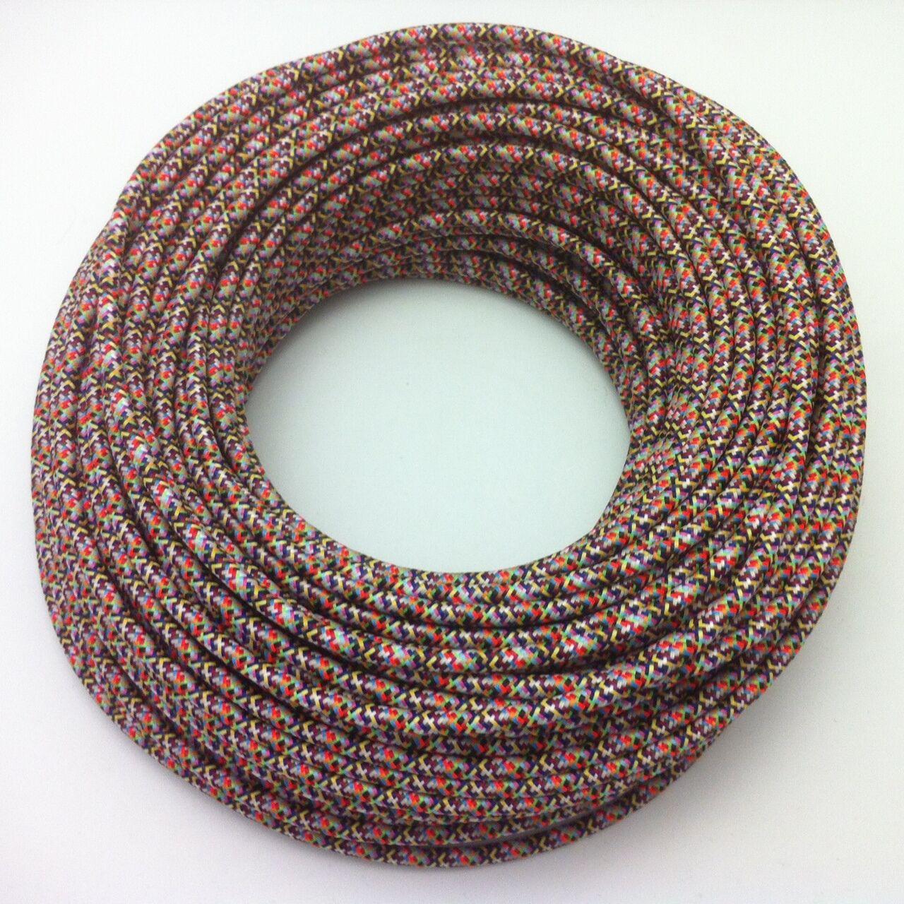 50m design textile Cable, 3x0,75, multiCouleur, top ue qualité, tissu Cable