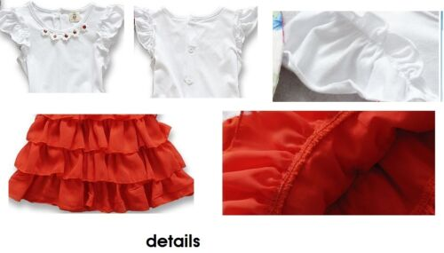 NEW Baby Girls Short Sleeves Summer Coral Tiered Ruffle Dress 6-24m Size 0//1//2