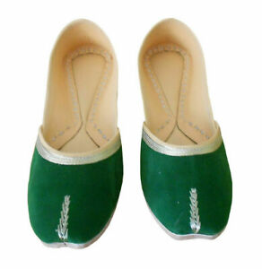 Women-Shoes-Indian-Traditional-Green-Leather-Ballet-Flat-Jutties-UK-3-5-EU-36