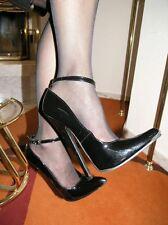 Extrem Stiletto Lack Pumps High-Heels Größe 46 Schwarz mit Riemchen 18cm Absatz