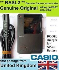 Genuino, originale, caricabatterie Casio bc-31l, NP40, Exilim EX-Z700 EX-Z750 EX-Z100 Z200