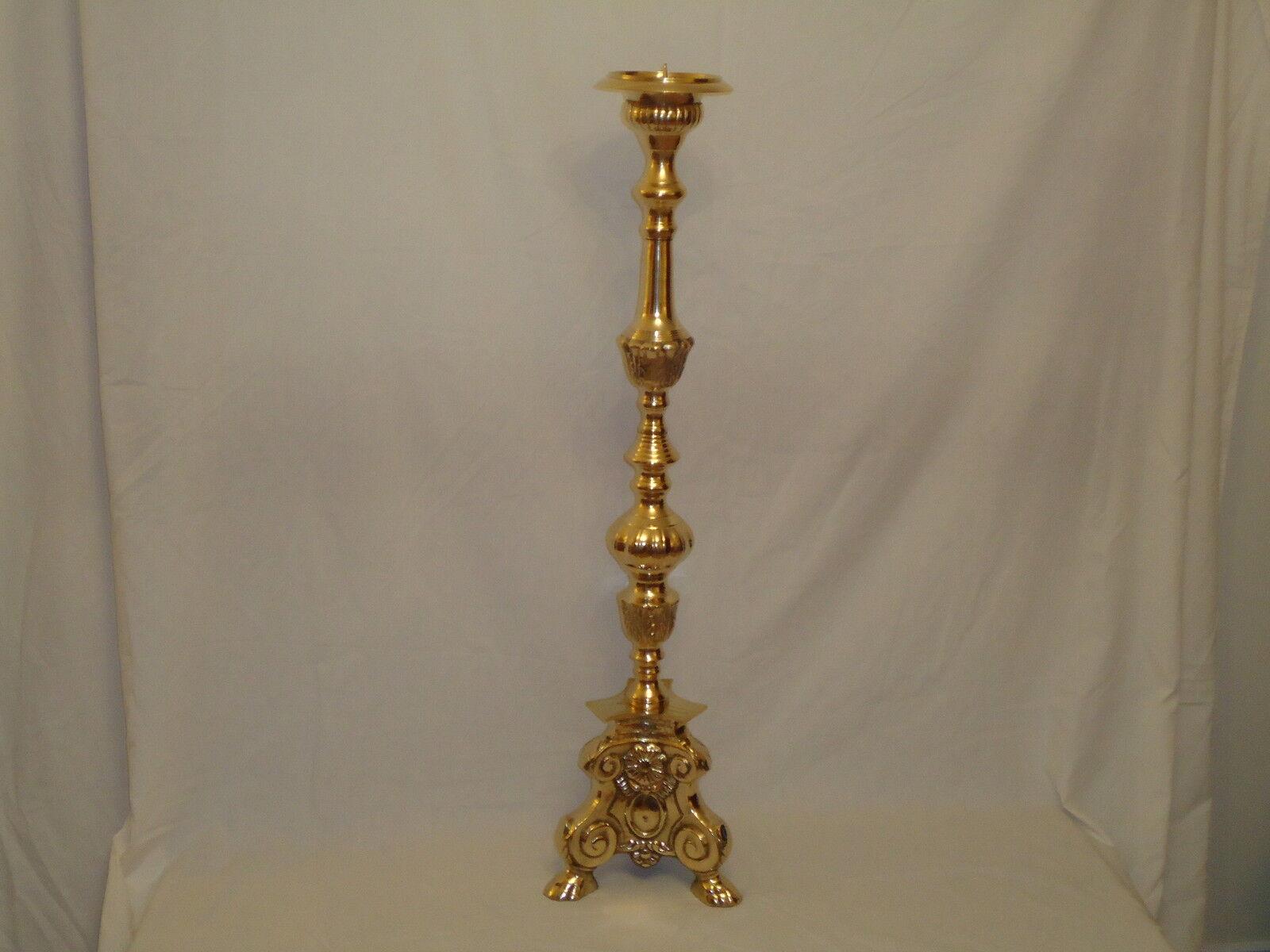 Latón barroco italiano palo de vela titular sobre 9k peso 101cm 40  alto T luz