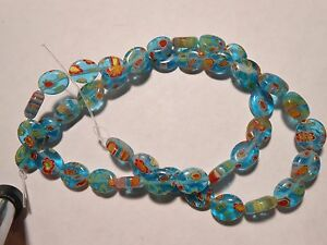 15 MILLEFIORI 10x8mm PUFF OVAL TURQUOISE teal blue & Multi Colors GLASS BEADS