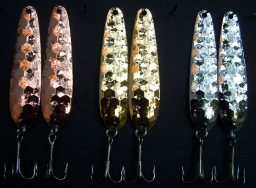 """or doré Candy Variety Pack WC2 3 7//8/"""" Hex Flutter cuillers nickel cuivre"""