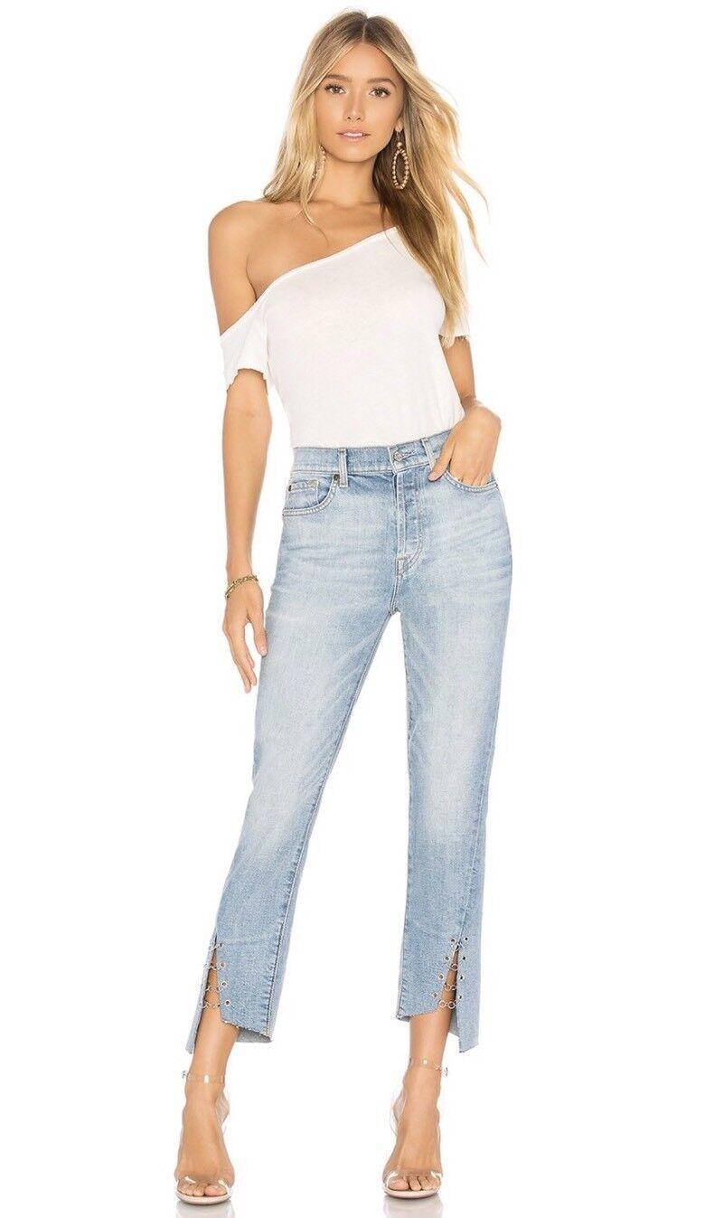 Nuevo  con etiquetas 7 para MANKIND Talla 29 cintura alta ALL corto recto Anillos Edie Jeans Azul  239  colores increíbles