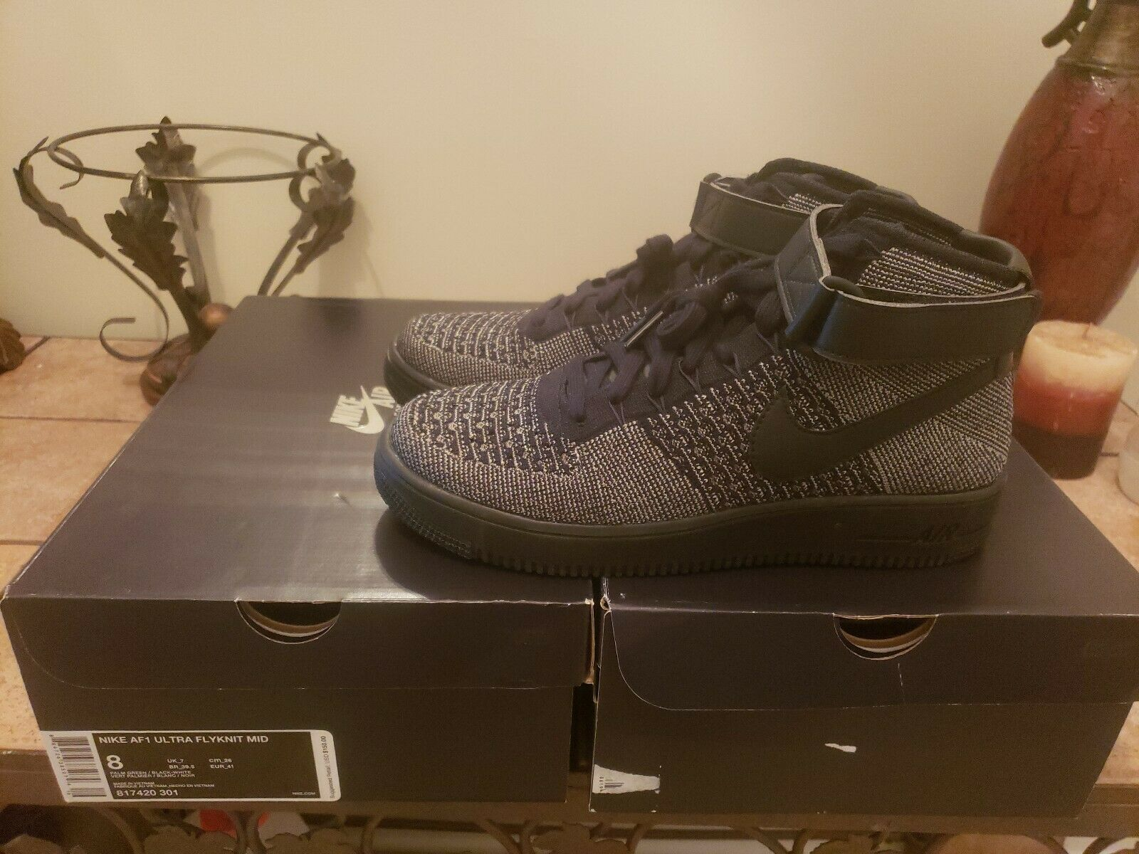 Limited Nike Air Force 1 Ultra Flyknit Mid Black Palm 817420-301. Sz.9. New
