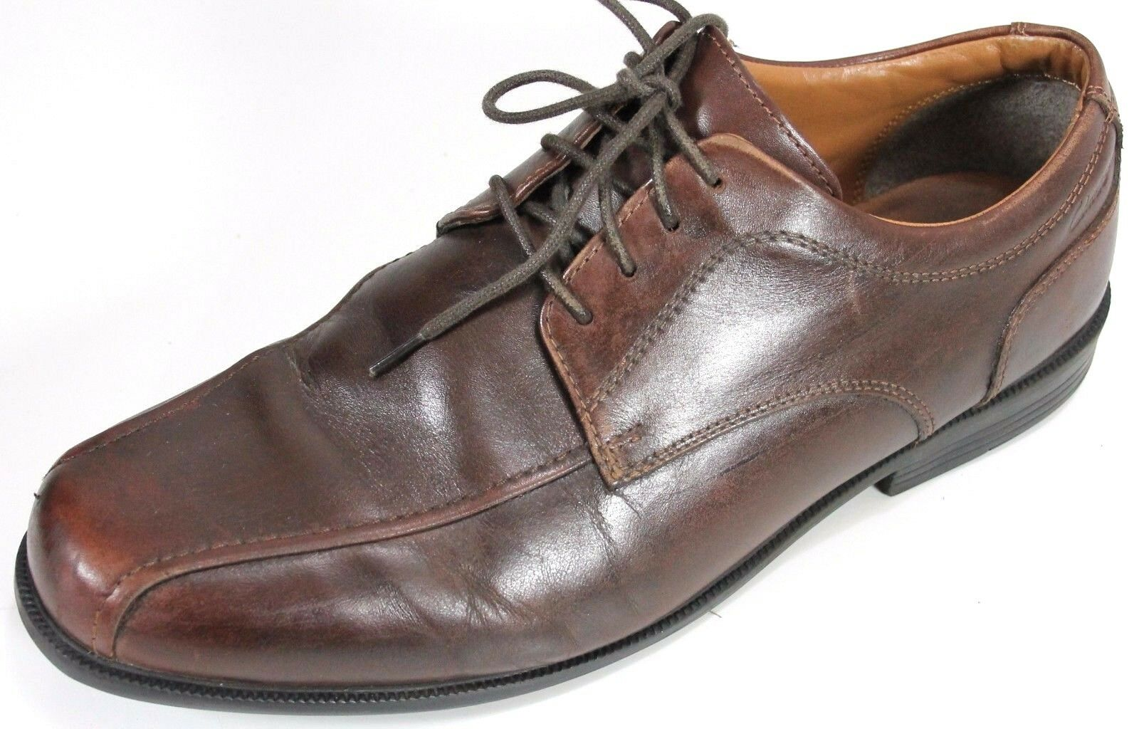 Clarks Men's  89 Beeston Stride Oxford Dress shoes Size 10 Brown Leather