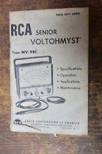 Vintage Rca Senior Voltohmyst Type Wv 98c Original Manual