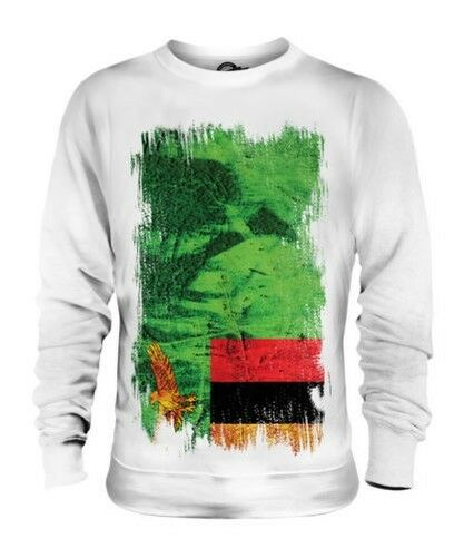ZAMBIA GRUNGE FLAG UNISEX SWEATER TOP ZAMBIAN SHIRT FOOTBALL JERSEY GIFT