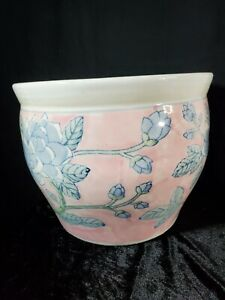 Chinese blue white pink jardiniere planter fish bowl Asian oriental Vintage