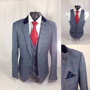 fast color classcic shop for Details about Marc Darcy Hilton Blue Tweed Blazer & Waistcoat
