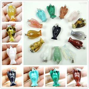 Natural-Mix-Agate-Rose-Quartz-Gemstone-Carved-Angel-pendant-Bead-Making-necklace