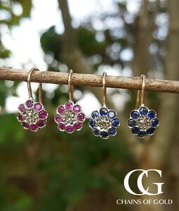 9ct-Rose-Gold-Vintage-Style-Flower-Earrings-with-Diamonds-Rubies-and-Sapphire