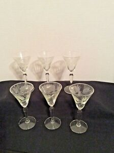 Set-of-6-Vintage-Stemmed-Cordial-Liqueur-Glasses-Etched-Feather-4-1-2-034-Barware