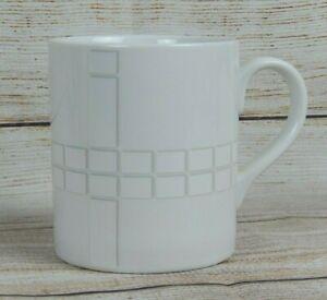 Discontinued-Studio-Nova-PARK-AVENUE-GRID-Coffee-Mug-Cup-Gray-on-White