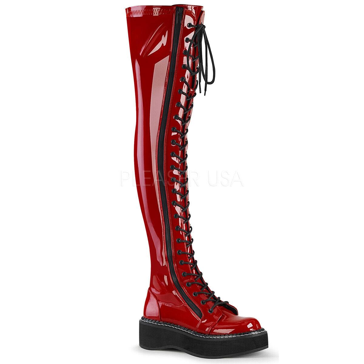 Patente Rojo Alto del muslo botas con cordones Góticos Punk Rock Mujer Demonia Emily - 375