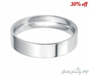 Mens-Womens-Solid-14K-White-Gold-Plain-FLAT-Wedding-Band-2MM-7MM-size-4-13