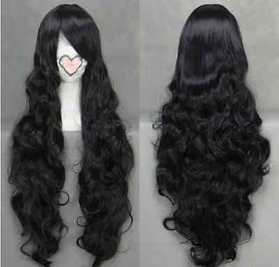 Long Black Curly Wavy Anime Cosplay wig free shipping