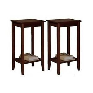End Tables Set Pair Coffee Brown Wood Console Sofa Storage