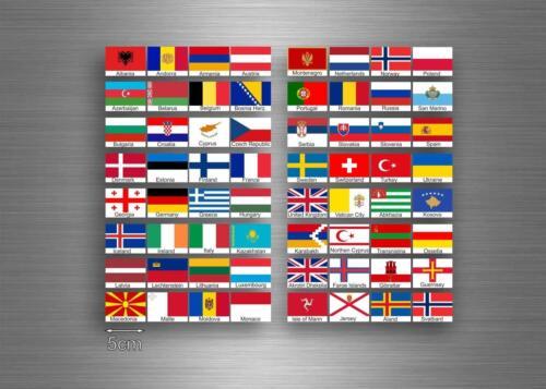64x Aufkleber flagge fahne verschiedene europa staaten del erde r1 scrapbooking