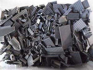 LEGO-100-DARK-GREY-MIX-OF-PARTS-PIECES-HUGE-BULK-LOT-RANDOM-LEGOS-LB-Gray