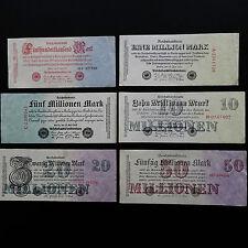 Lot deutsche Inflation : 6 Banknoten, alles verschiedene, 500 T. bis 50 Millione