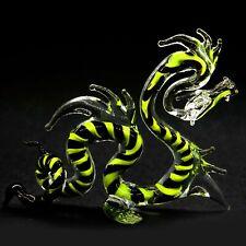 Green Handmade Mythical Animal Figure #36 Hand Blown Art Glass Dragon Figurine